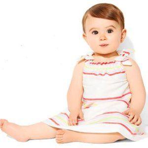 Baby Gap Neon Orange Striped Silk Sundress